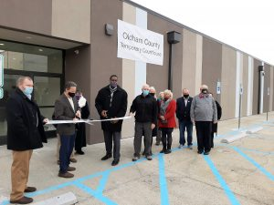 Oldham County Temp courthouse ribbon cutting